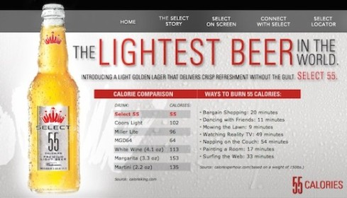 Shape magazine (www.shape.com) lists Bud Select 55 as one of 15 bikini-friendly beers.