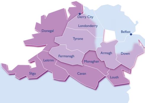 Cross border region between Northern Ireland and Republic of Ireland. Image via www.cawt.com