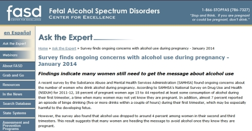 Survey finds ongoing concerns with alcohol use during pregnancy - January 2014