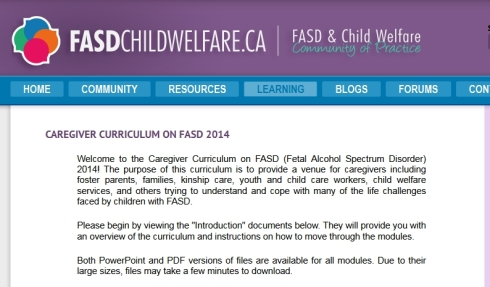 Caregiver Curriculum on FASD