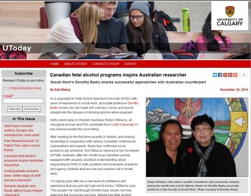 'Canadian fetal alcohol programs inspire Australian researcher I